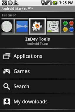 android market de aplicaciones captura
