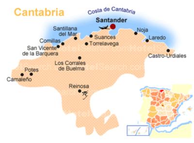 Mapa de la Región de Cantabria